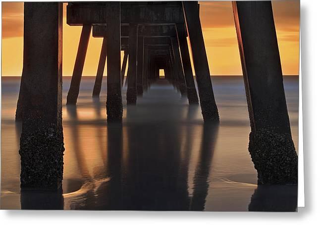 Foggy Beach Greeting Cards - Underneath the Pier - Jacksonville Beach - Florida - Sunrise Greeting Card by Jason Politte