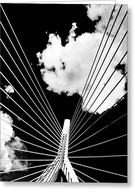 Andrews Greeting Cards - Underneath the Zakim Greeting Card by Andrew Kubica