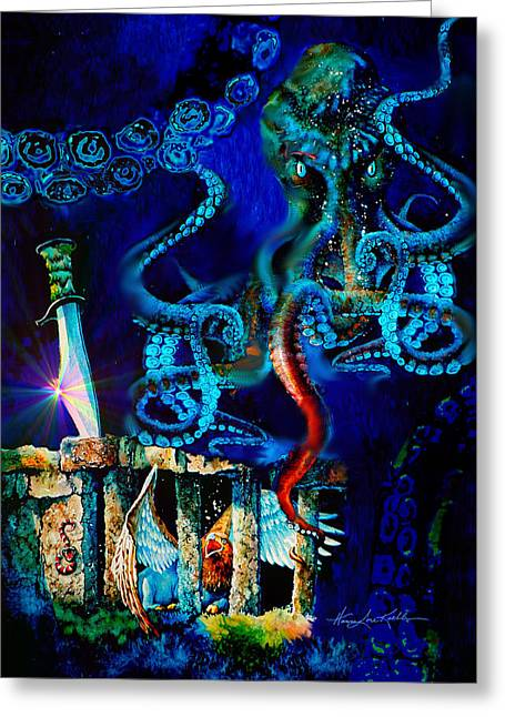 Filipino Arts Greeting Cards - Undersea Fantasy Illustration Greeting Card by Hanne Lore Koehler
