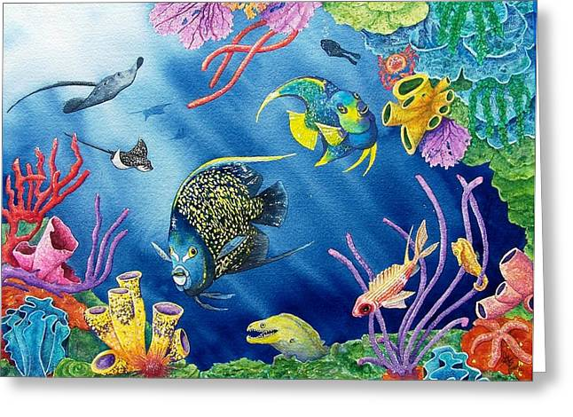 Reef Fish Paintings Greeting Cards - Undersea Garden Greeting Card by Gale Cochran-Smith