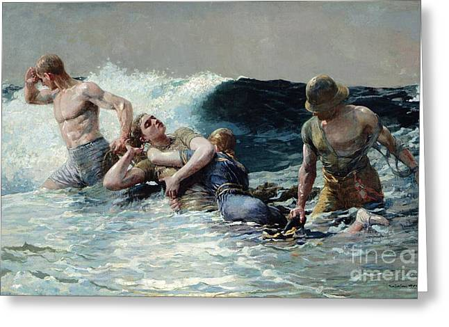 Rescue Greeting Cards - Undertow Greeting Card by Winslow Homer