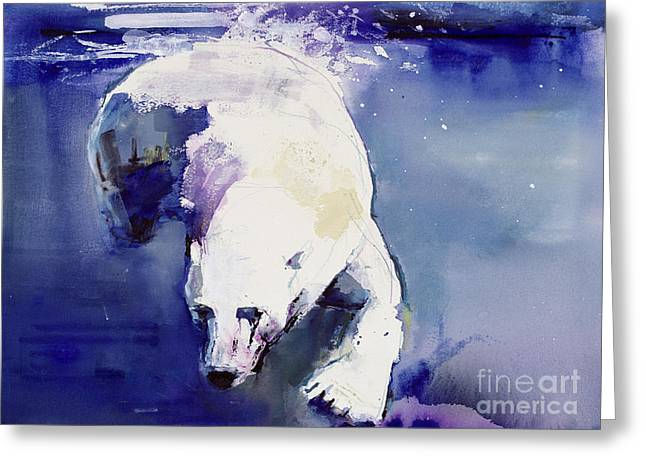 Arctic Paintings Greeting Cards - Underwater Bear Greeting Card by Mark Adlington