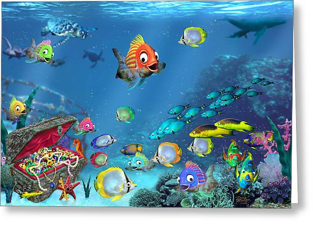 Underwater Scenes Greeting Cards - Underwater Fantasy Greeting Card by Doug Kreuger