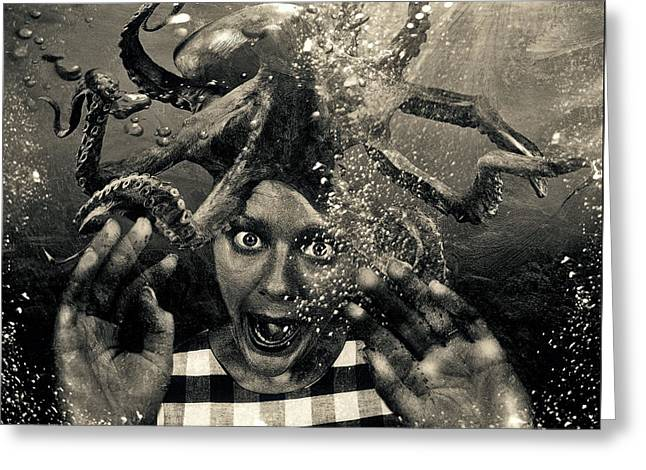 Underwater Nightmare Black And White Greeting Card by Marian Voicu