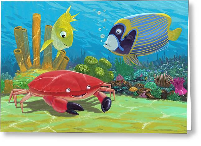 Edible Digital Art Greeting Cards - Underwater Sea Friends Greeting Card by Martin Davey