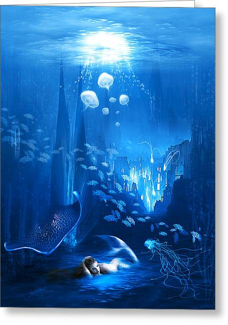 Dolphin Greeting Cards - Underwater World Greeting Card by Svetlana Sewell
