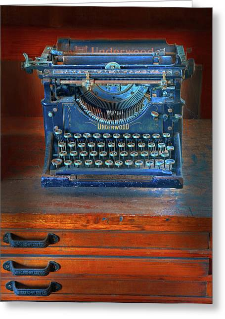 Typewriter Greeting Cards - Underwood Typewriter Greeting Card by Dave Mills