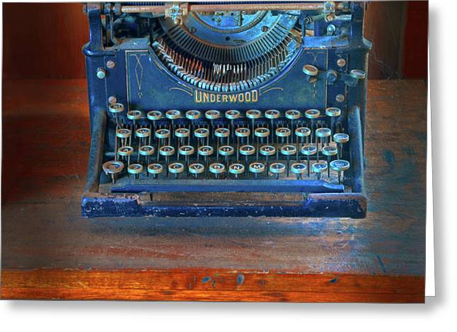 Underwood Typewriter Greeting Card by Dave Mills