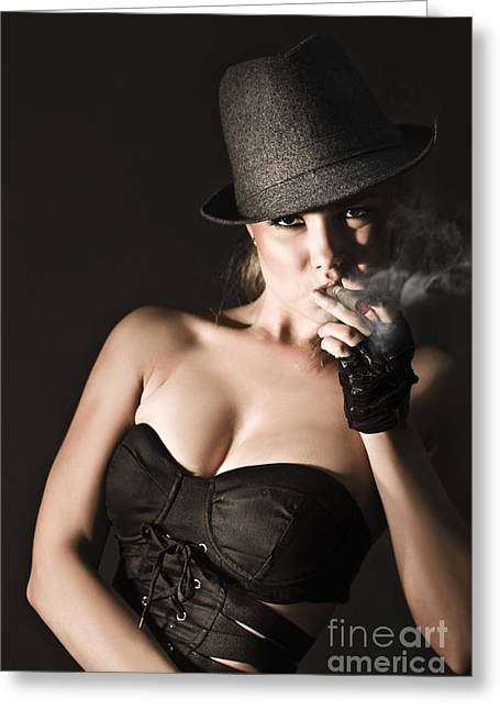Bribery Greeting Cards - Underworld Gangster Woman Greeting Card by Ryan Jorgensen