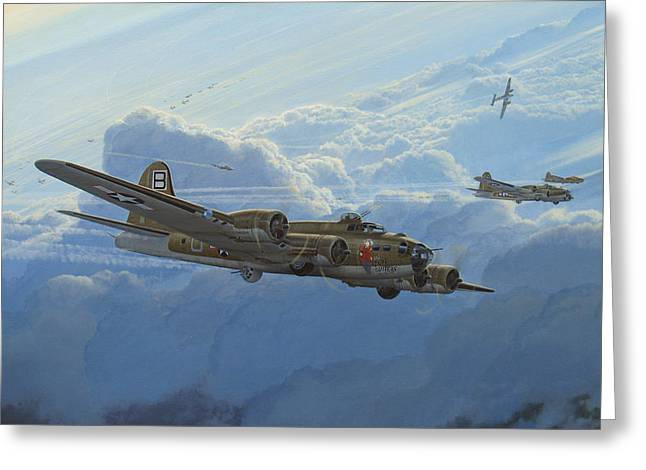 Military Airplanes Paintings Greeting Cards - Undesirable Company Greeting Card by Steven Heyen