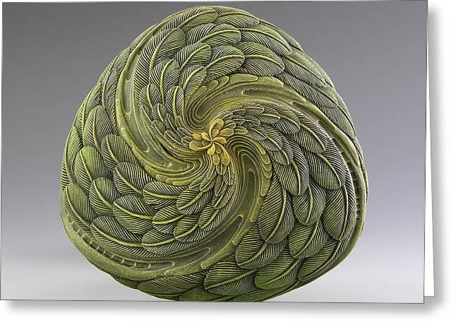 Feathers Sculptures Greeting Cards - Une Triade De Mon Moi Interieur  Greeting Card by Jacques Vesery
