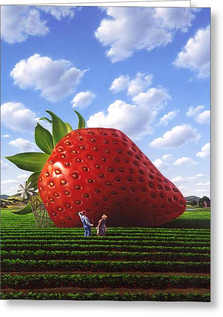 Strawberries Greeting Cards - Unexpected Growth Greeting Card by Jerry LoFaro