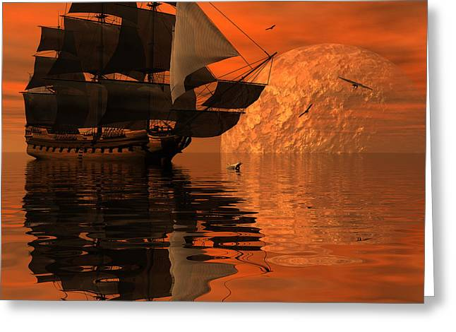 Tall Ships Greeting Cards - Unexplored waters Greeting Card by Claude McCoy