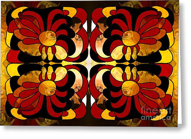 Unfolding Fantasies Of Abstract Bliss By Omashte Greeting Card by Omaste Witkowski