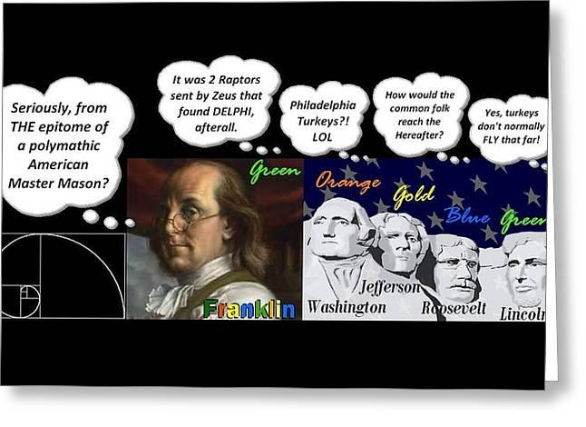 Franklin Roosevelt Mixed Media Greeting Cards - Unfudging Franklin et al Greeting Card by Peter Hedding