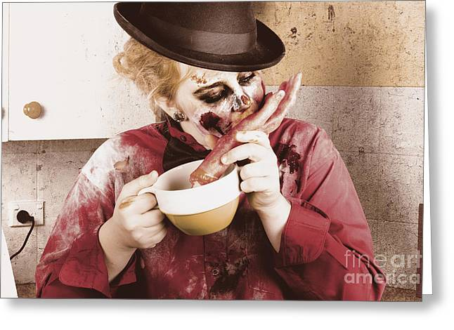 Unhealthy Zombie Eating Finger Food Greeting Card by Jorgo Photography - Wall Art Gallery