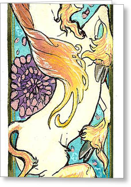 Jenn Cunningham Greeting Cards - Unicorn And Flowers Greeting Card by Jenn Cunningham