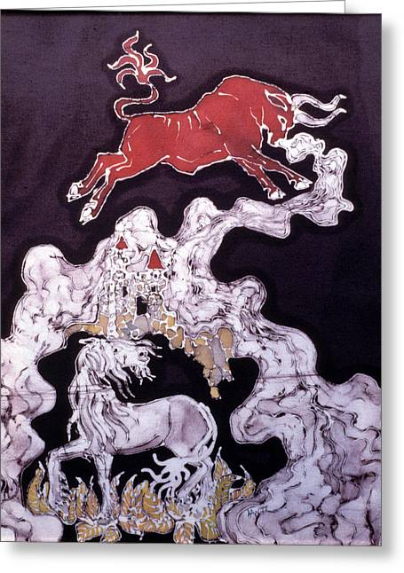 Unicorns Tapestries - Textiles Greeting Cards - Unicorn and Red Bull Greeting Card by Carol  Law Conklin