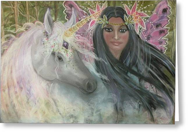 Faerys Greeting Cards - Unicorn Faery Mother Greeting Card by Coral Lee