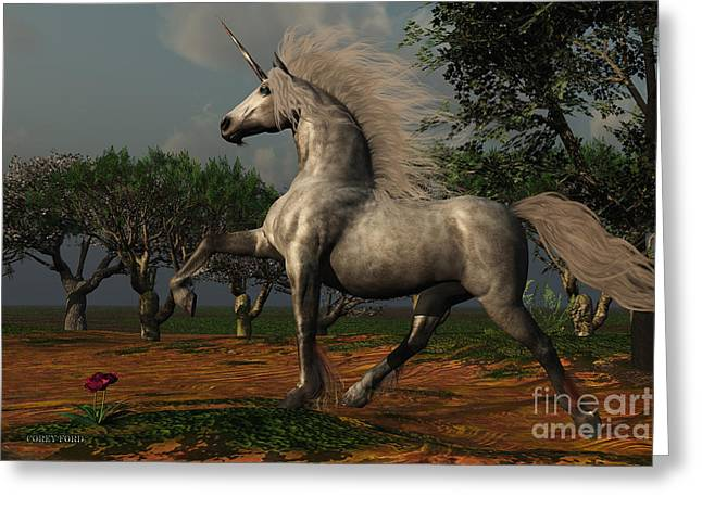 Fabled Greeting Cards - Unicorn Forest Greeting Card by Corey Ford