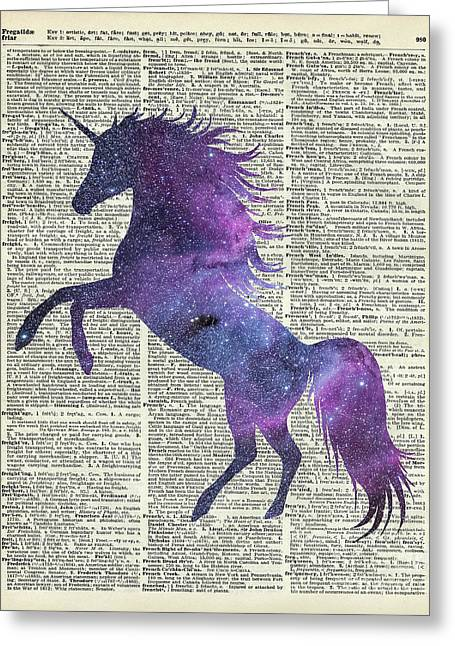 Macrocosm Digital Greeting Cards - Unicorn in Space Greeting Card by Jacob Kuch