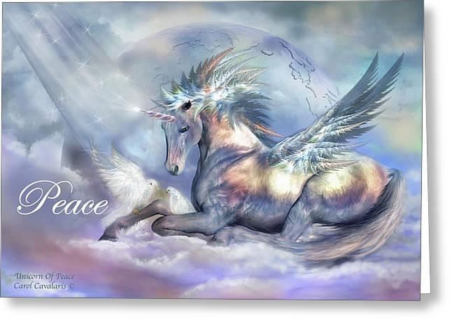 Xmas Mixed Media Greeting Cards - Unicorn Of Peace Card Greeting Card by Carol Cavalaris