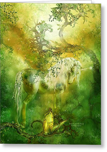 Unicorn Art Print Greeting Cards - Unicorn Of The Forest  Greeting Card by Carol Cavalaris