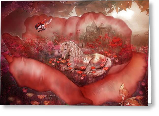 Unicorn Of The Poppies Greeting Card by Carol Cavalaris