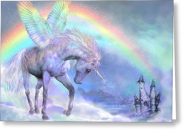 Fantasy Mixed Media Greeting Cards - Unicorn Of The Rainbow Greeting Card by Carol Cavalaris