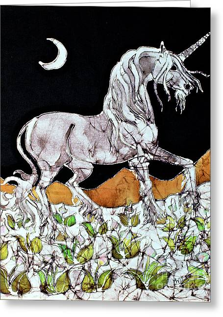Equine Tapestries - Textiles Greeting Cards - Unicorn Over Flower Field Greeting Card by Carol  Law Conklin