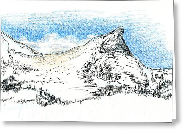 Storm Clouds Drawings Greeting Cards - Unicorn Peak in September Greeting Card by Logan Parsons