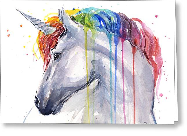 Unicorn Rainbow Watercolor Greeting Card by Olga Shvartsur