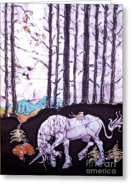 Unicorns Tapestries - Textiles Greeting Cards - Unicorn Rests in the Forest with Fox and Bird Greeting Card by Carol Law Conklin