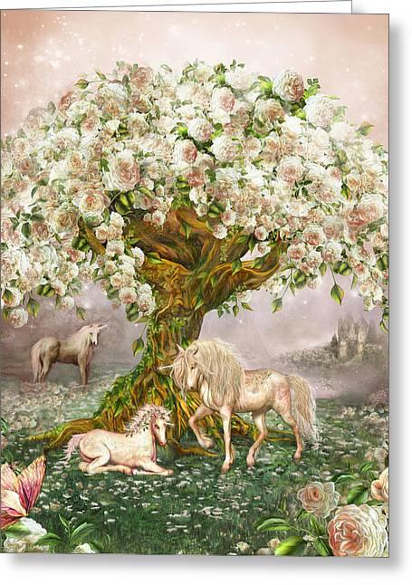 Unicorn Rose Tree Greeting Card by Carol Cavalaris