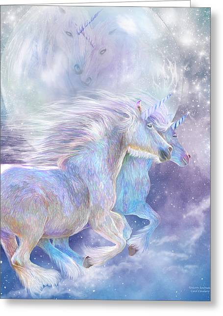 Soulmate Greeting Card featuring the mixed media Unicorn Soulmates by Carol Cavalaris