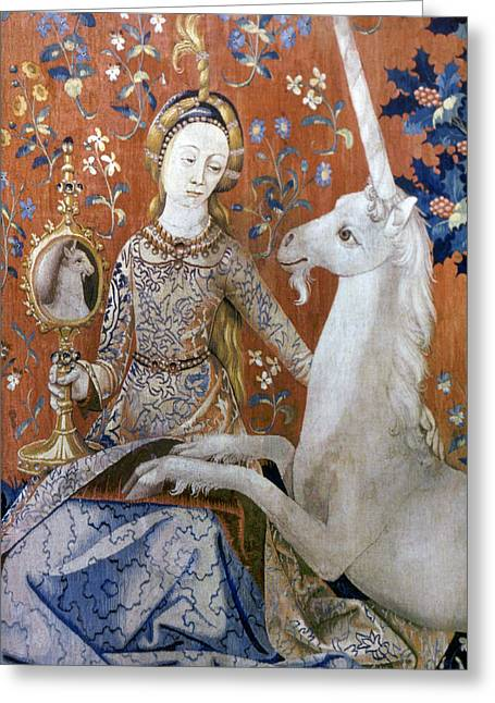 Unicorn Tapestry, 15th C Greeting Card by Granger