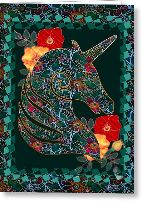 Unicorn Tapestry Greeting Card by Sharon and Renee Lozen
