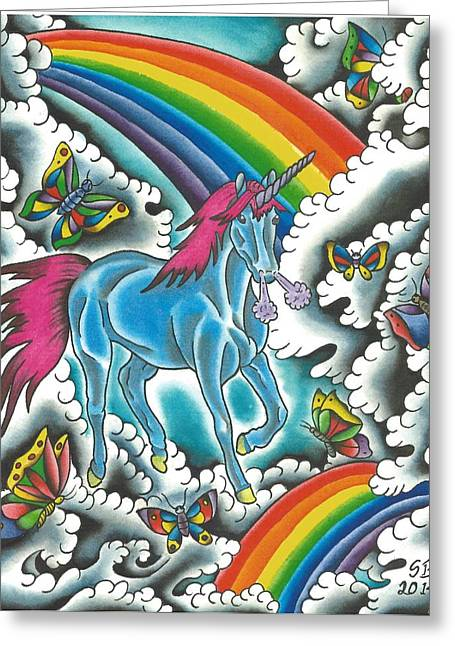 Tattoo Flash Paintings Greeting Cards - Unicorns Rainbows and Butterflies Greeting Card by Scott Bohrer
