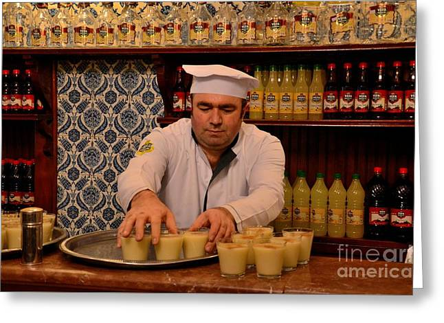 Labelled Greeting Cards - Uniformed staff at Vefa Boza drink maker carries drinks Istanbul Turkey Greeting Card by Imran Ahmed