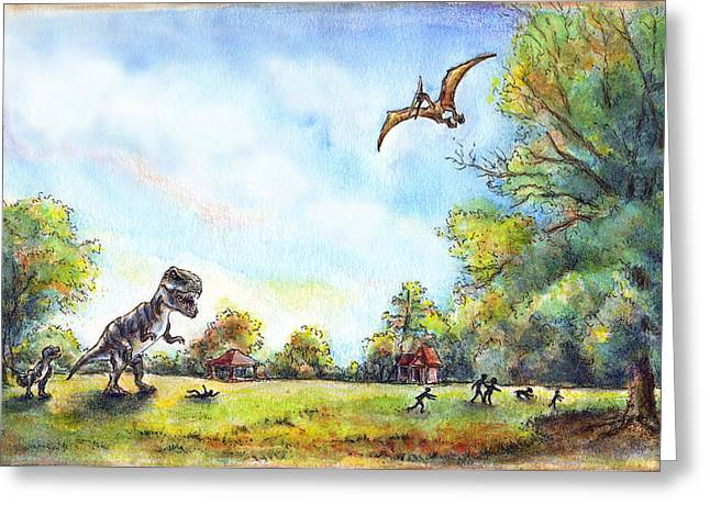 Philadelphia Park Drawings Greeting Cards - Uninvited Picnic Guests Greeting Card by Retta Stephenson