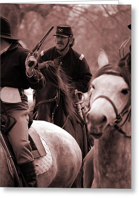 Pea Ridge Greeting Cards - Union Cavalry Greeting Card by Jame Hayes