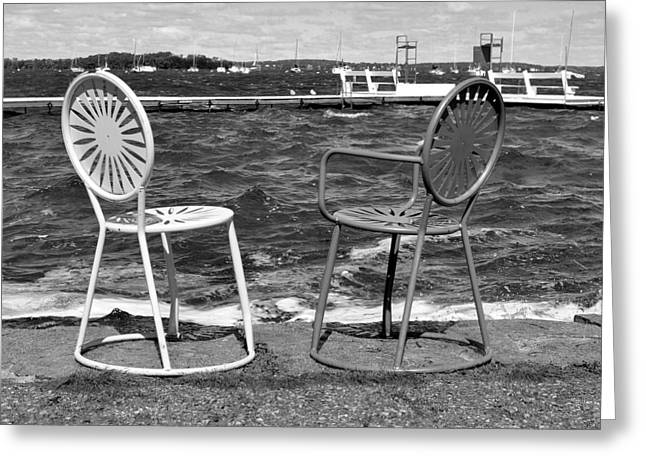 Union Terrace Greeting Cards - Union Chairs in Black and White Greeting Card by Melanie Guest