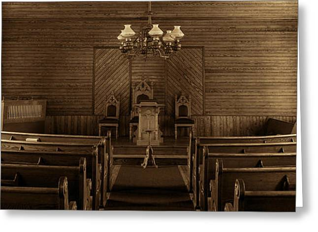 Sepia Chandeliers Greeting Cards - Union Christian Church Sanctuary - Sepia Panoramic Greeting Card by Stephen Stookey