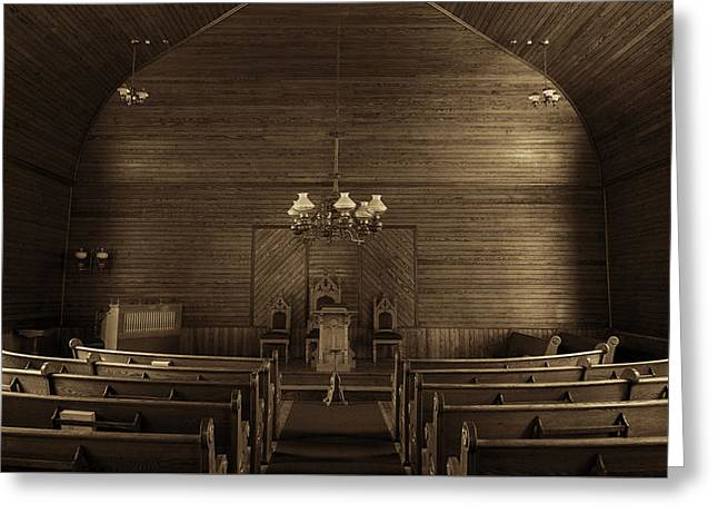 Sepia Chandeliers Greeting Cards - Union Christian Church Sanctuary - Sepia Greeting Card by Stephen Stookey