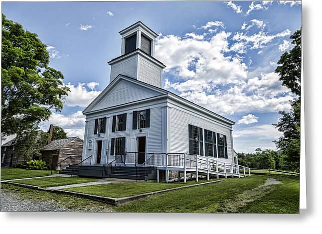 Flag Of Usa Greeting Cards - Union Christian Church Greeting Card by Stephen Stookey