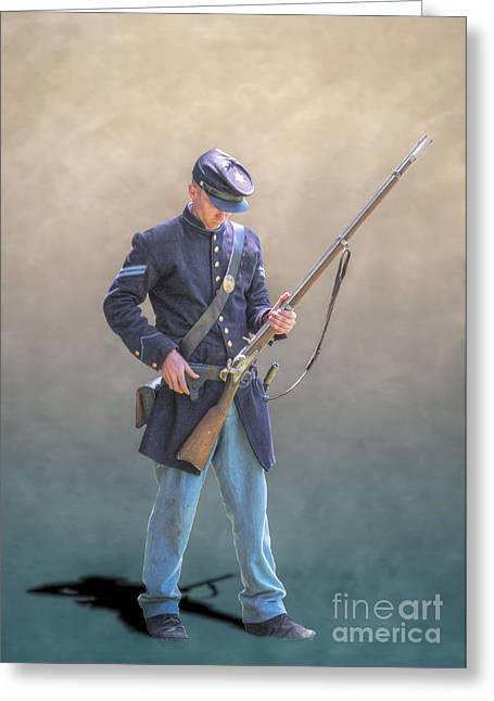 Reenactor Greeting Cards - Union Civil War Soldier Reloading Greeting Card by Randy Steele