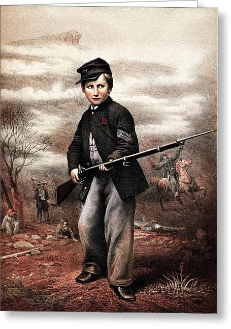 Civil War History Greeting Cards - Union Drummer Boy John Clem Greeting Card by War Is Hell Store