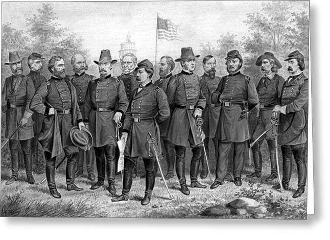 American Civil War Drawings Greeting Cards - Union Generals of The Civil War  Greeting Card by War Is Hell Store