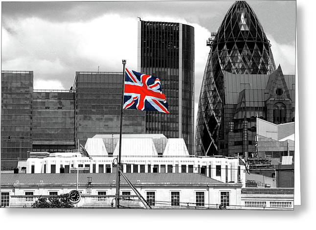 Selective Colouring Greeting Cards - Union Jack - HMS Belfast Greeting Card by Graham Taylor