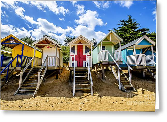 Shack Greeting Cards - Union Jack Beach Hut Greeting Card by Chris Thaxter